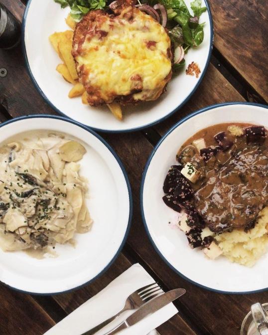 Chicken Parma, Porterhouse Steak and Vegan mushroom pasta